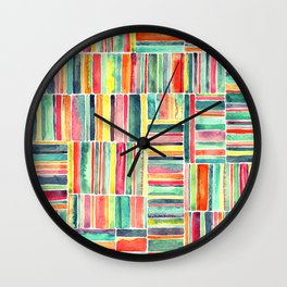 Retro Beach Chair Bright Watercolor Stripes on White Wall Clock