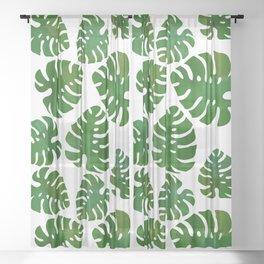 Emerald Monstera Sheer Curtain