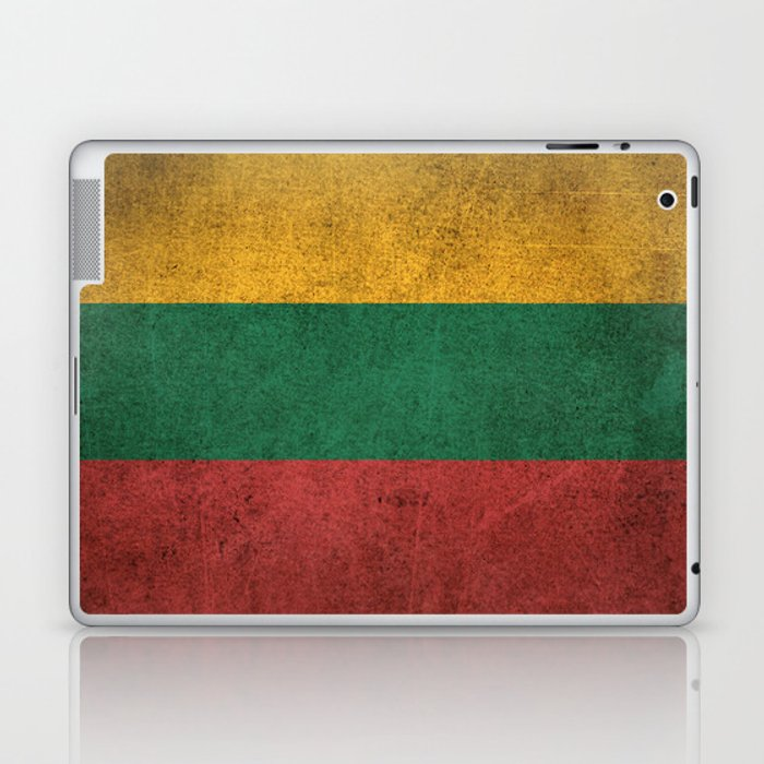 Old and Worn Distressed Vintage Flag of Lithuania Laptop & iPad Skin