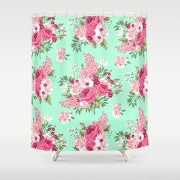 Cottage Chic Roses and Lilacs Floral in Aqua and Pink Shower Curtain