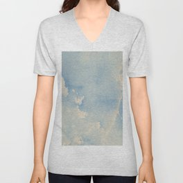 Vintage chic pastel blue ivory watercolor paint texture pattern Unisex V-Neck