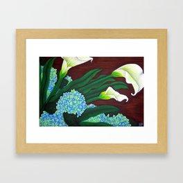 Calla Lilies & Hydrangea Framed Art Print