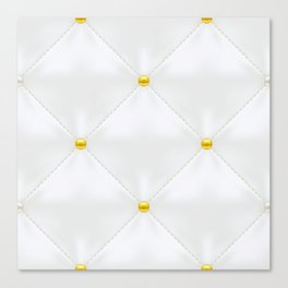 Abstract white quilted pattern with gold dots Canvas Print