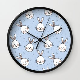 Easter pattern with little cute bunnies faces Wall Clock