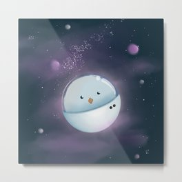 Chick in space #chickenastronauta Metal Print
