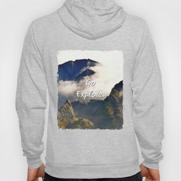 'Go Explore.' Mountains, Adventure, Wanderlust, Typography Hoody