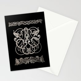 Old norse design - Two Jellinge-style entwined beasts originally carved on a rune stone in Gotland. Stationery Cards