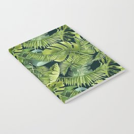 Lush Green Monstera And Palm Leaf Pattern Notebook