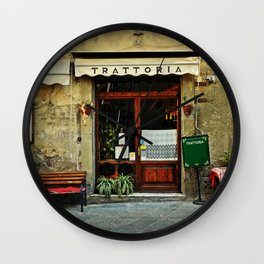 Entrance of old italian restaurant in Tuscany Wall Clock