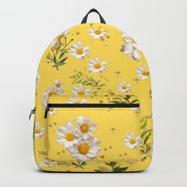 White Daisies Gerber Floral Pattern Yellow Background Backpack