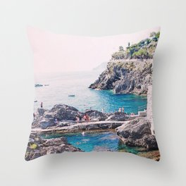 Cinque Terre Swimming Hole Throw Pillow