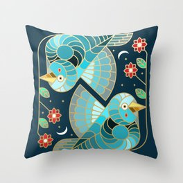 Beautiful Art Deco Midnight Bluebirds And Blossoms Throw Pillow