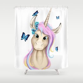 Unicorn Foal Bust Shower Curtain