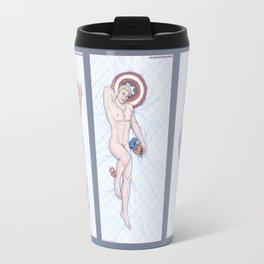 Superhero Pinup Heroic Nude Trio (Stark Spangled Winter) Travel Mug