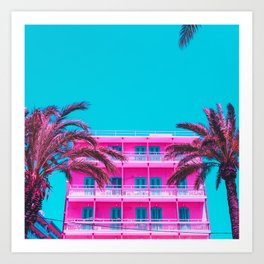 pink hotel and palm tees. Art Print
