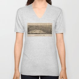 Panoramic view of Evansville, Indiana (1880) Unisex V-Neck