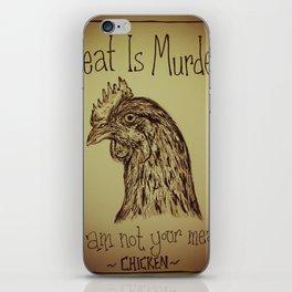 Go Vegan Now - Meat is Murder Chicken iPhone Skin