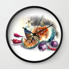 Watercolor harvest with vegetables, Thanksgiving Day Wall Clock