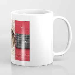 Old Vintage Acoustic Guitar with Mexican Flag Coffee Mug