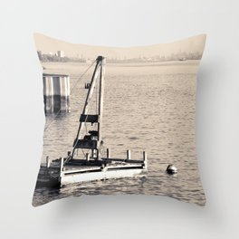 New York's Hudson River - Sepia-toned Photography Throw Pillow