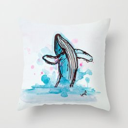 Blue Whale Throw Pillow