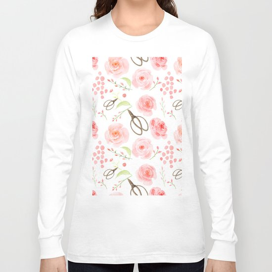 Summer Flowers Flower Floral Pink Vintage Roses #Society6 Long Sleeve T-shirt