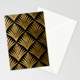 Luxurious Black and Gold Art Deco Elegant Pattern Stationery Cards