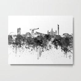 Glasgow skyline in black watercolor Metal Print