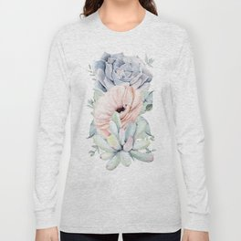 Pastel Succulents by Nature Magick Long Sleeve T-shirt