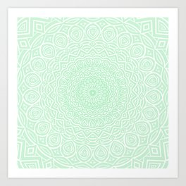 Green Mandala Design Extra Detailed Geometric Ethnic Tribal Pattern Art Print