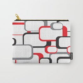 Red Black Gray Retro Square Pattern White Carry-All Pouch