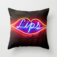 lips Throw Pillows featuring Lips by Alev Takil
