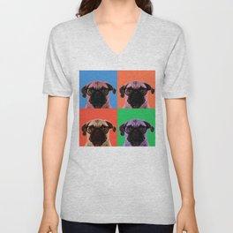 Pop Art Pug in 4 colors Unisex V-Neck
