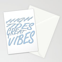 High Tides Great Vibes Summer Surf Text Stationery Cards