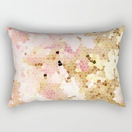 Flower Mosaic Millennial Pink and Golden Yellow Abstract Art | Honey Comb | Geometric Rectangular Pillow
