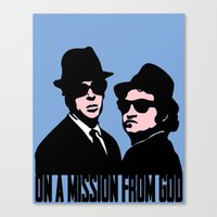 blues brothers Canvas Prints featuring Blues Brothers by John Medbury (LAZY J Studios)