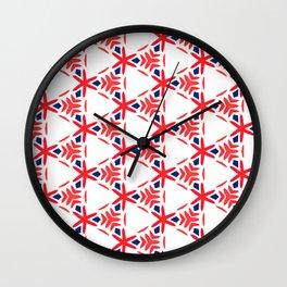 Geometric Origami Red Orange and Blue Wall Clock