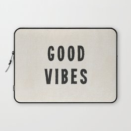 Distressed Ink Effect Good Vibes | Black on Off White Laptop Sleeve
