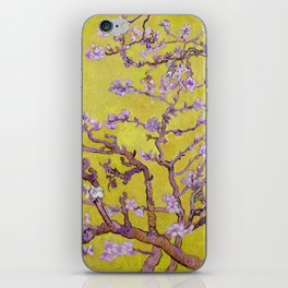 """Vincent van Gogh """"Almond Blossoms"""" (edited gold) iPhone Skin"""