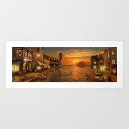 Nostalgic Harbor In The Sunset Art Print