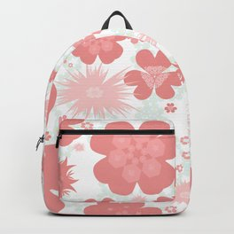 Flower power pattern CORAL Backpack