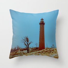 Little Sable Point Lighthouse Winter Desolate Dunes Blue Otherworldly Sky Throw Pillow