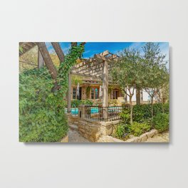 Hidden House with pool in the Mountains Metal Print