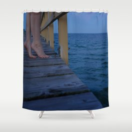 Woman standing on the edge of a pier Shower Curtain
