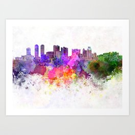 Colombo skyline in watercolor background Art Print