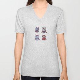 doodle owls blue red gray brown Unisex V-Neck