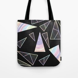Abstract Artwork Pattern of Color Triangles on a Black Background Style #04 Tote Bag