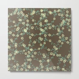 Stringy Flowers Pattern Metal Print
