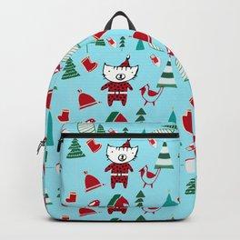 Cute Christmas cat blue Backpack