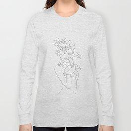 Minimal Line Art Woman with Flowers V Long Sleeve T-shirt